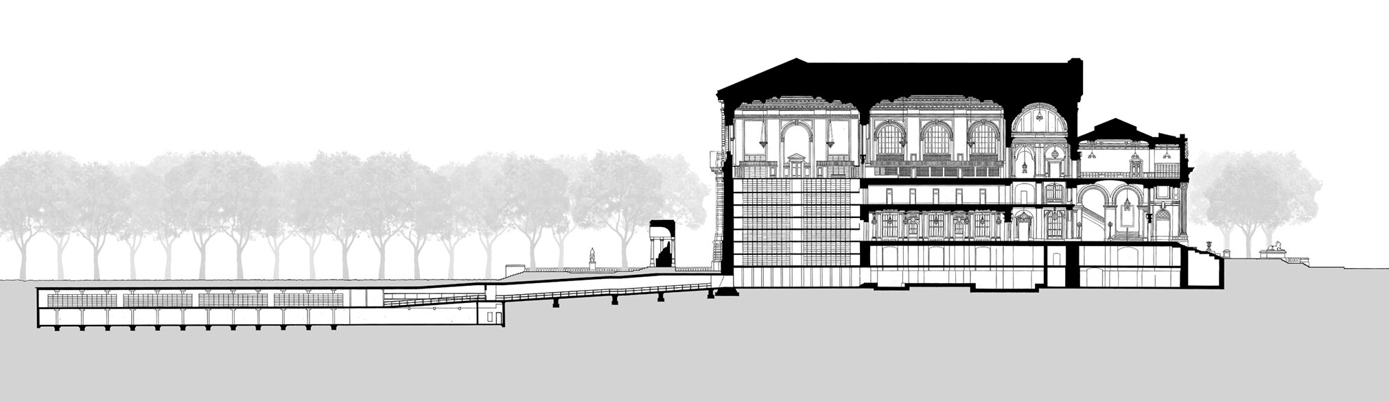 Section from South through Bryant Park stacks expansion