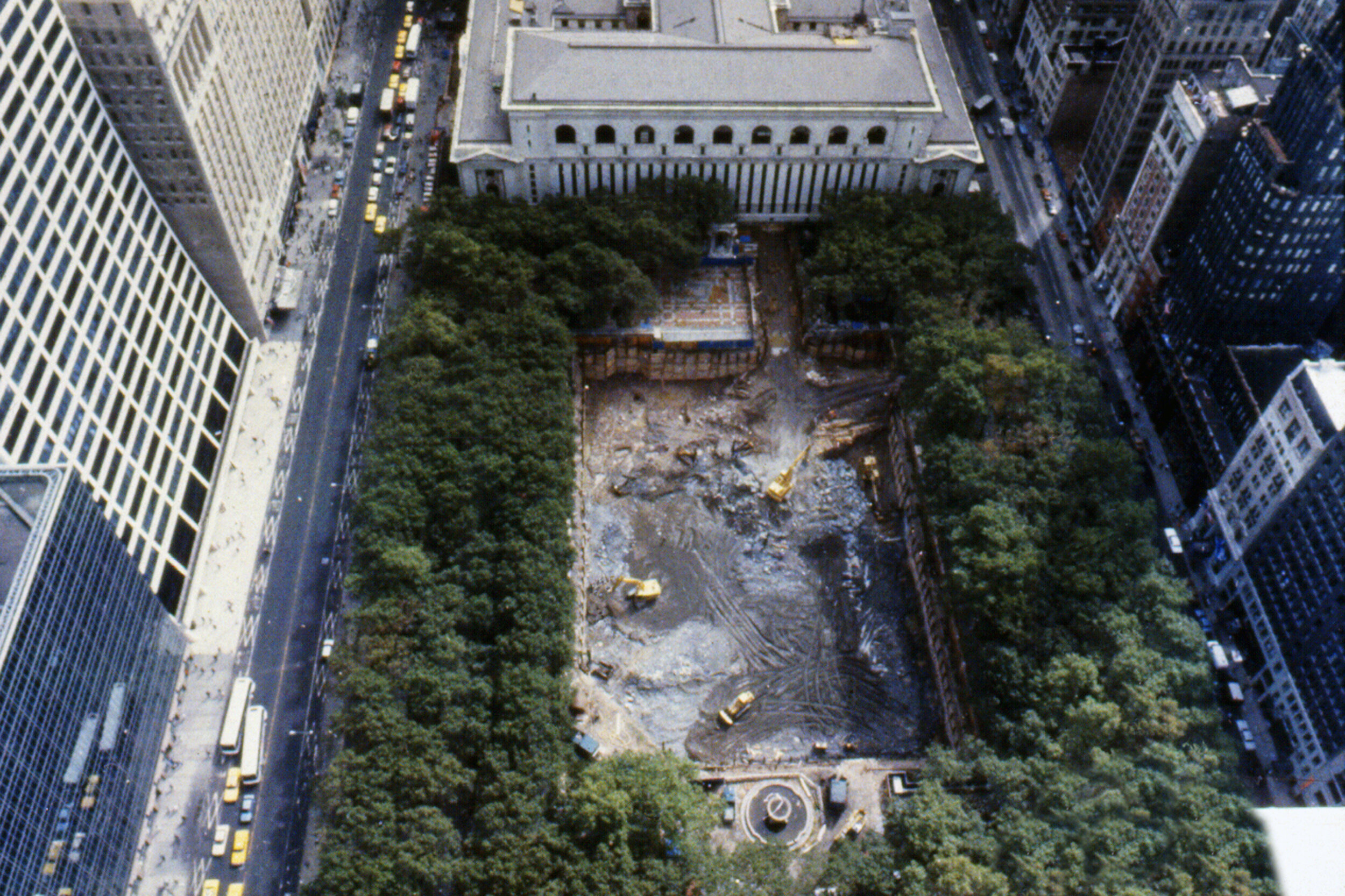 Bryant Park during construction