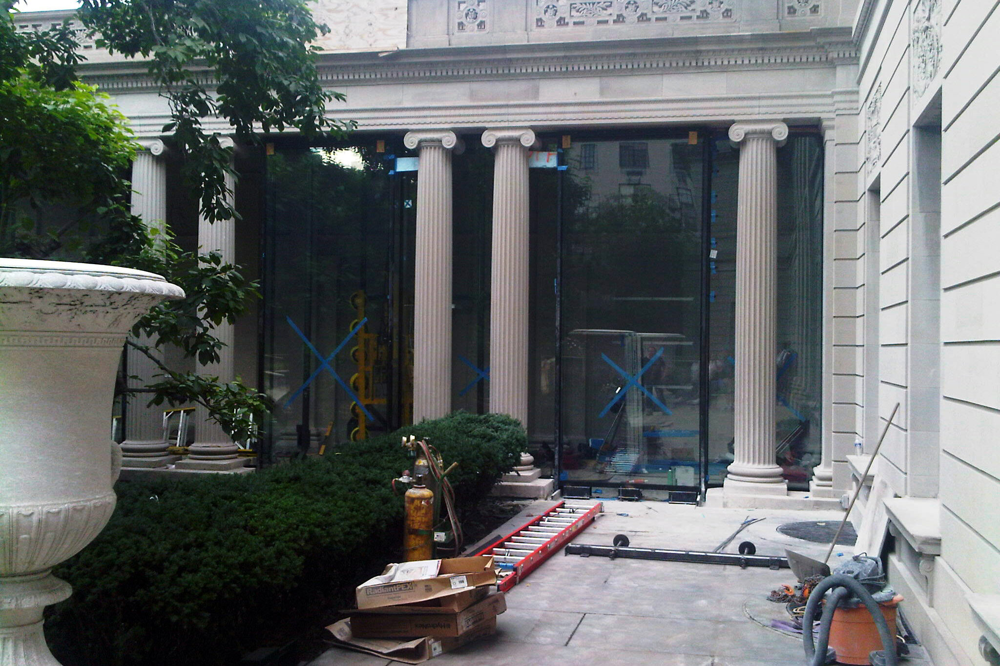 Portico during construction