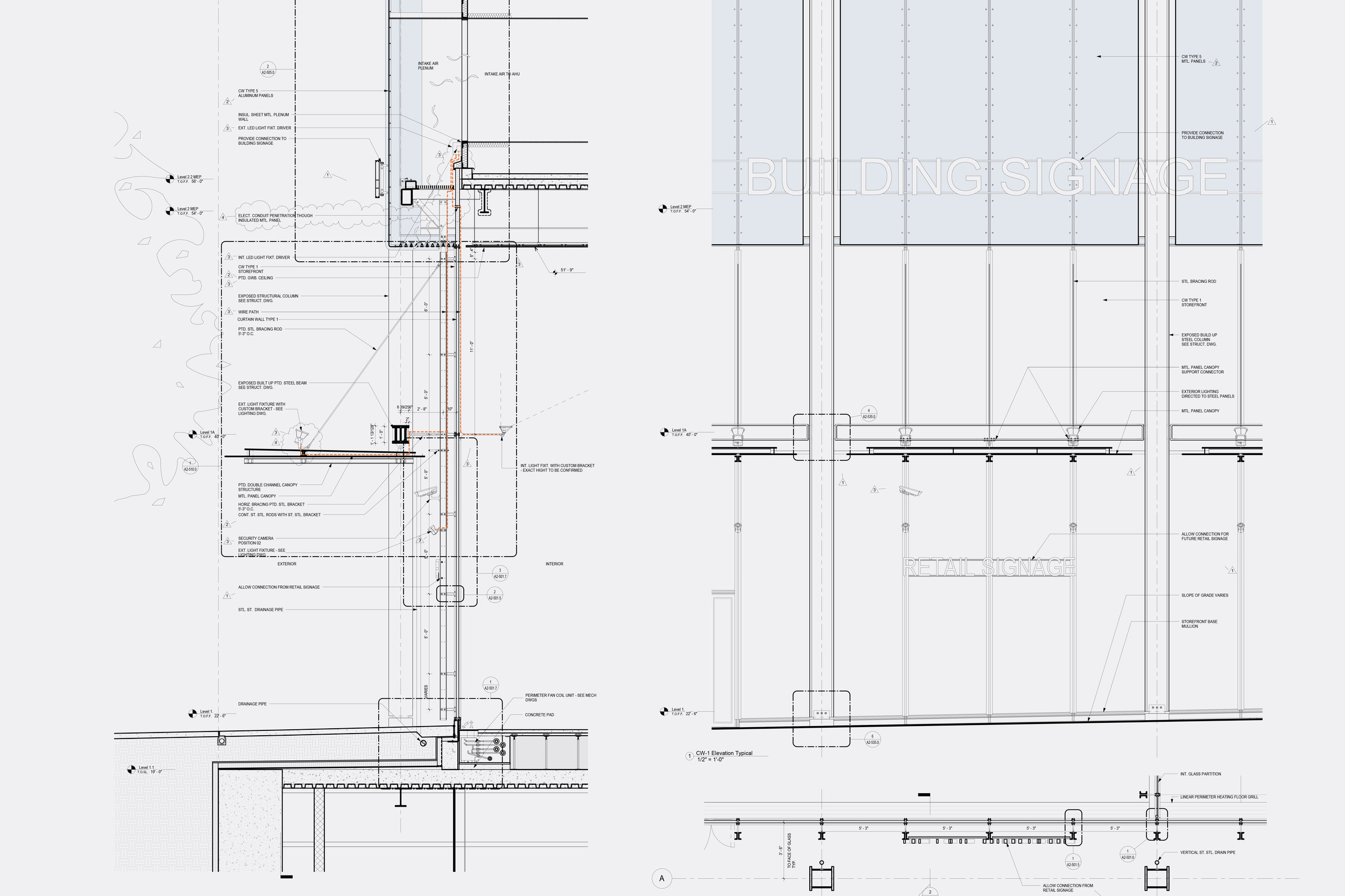 Curtain wall details @ entry