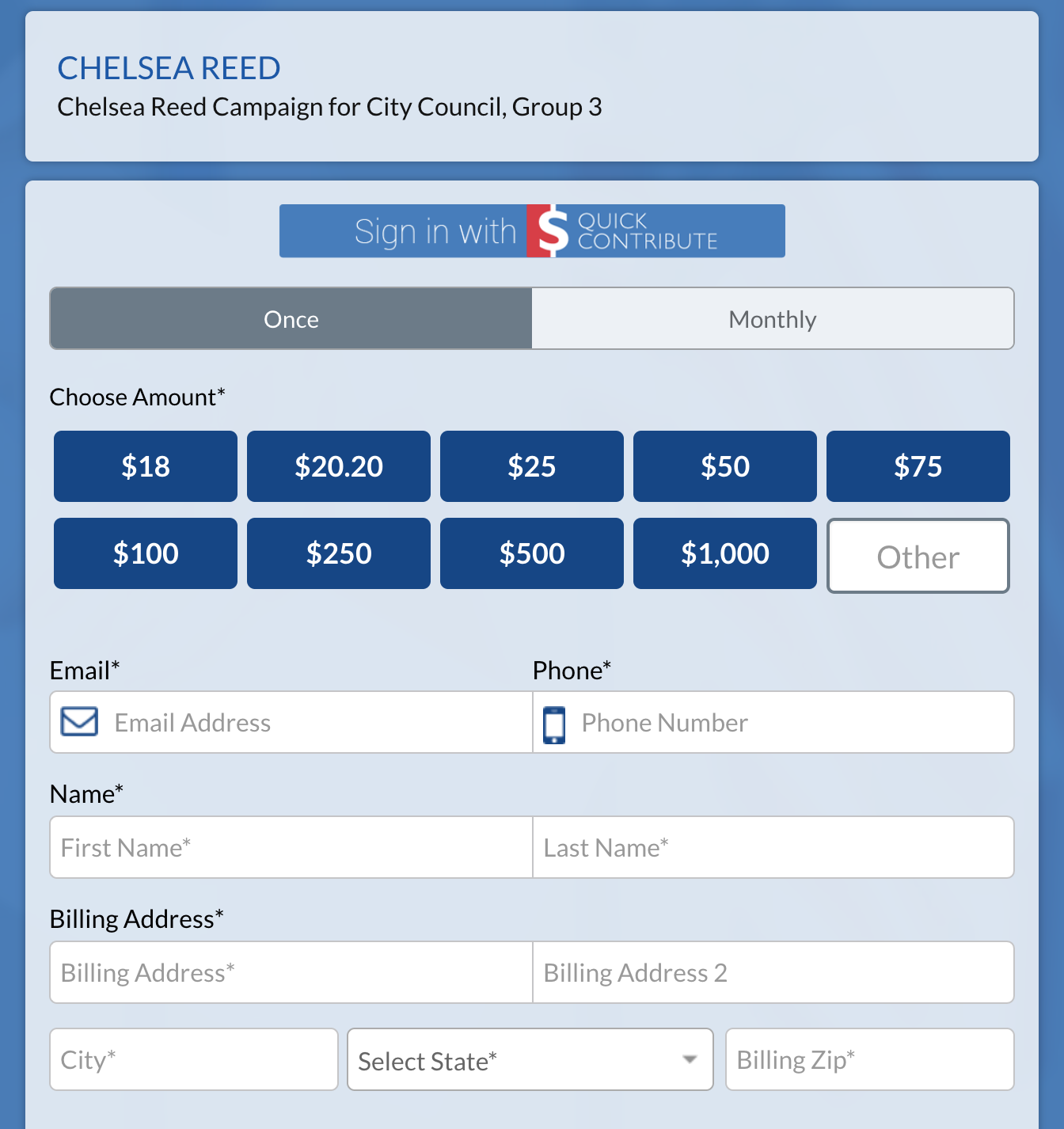 """2 wAYS TO DONATE: - Checks payable to""""Chelsea Reed Campaign""""can be mailed to:Chelsea Reed Campaign94 Satinwood LanePalm Beach Gardens, FL 33410Safe and secure online donations can be made at https://politics.raisethemoney.com/creedCampaign contributions are limited to $1000. per person or entity and are not tax deductible. Employer disclosure required for donations exceeding $100."""