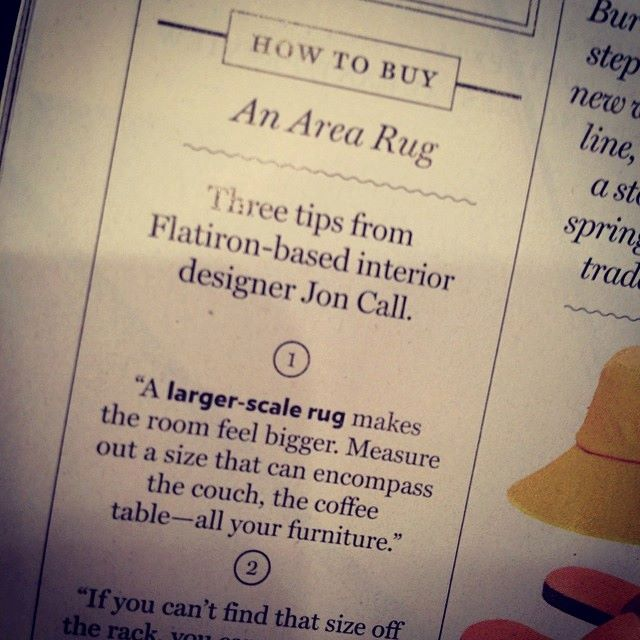 Rug tips published by New York Magazine