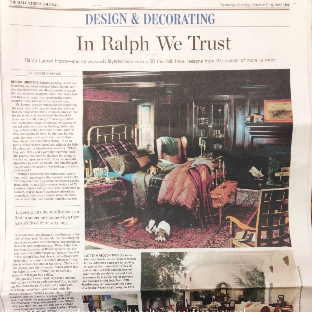 Interviewed by the NY Times to  honor the impact of Ralph Lauren