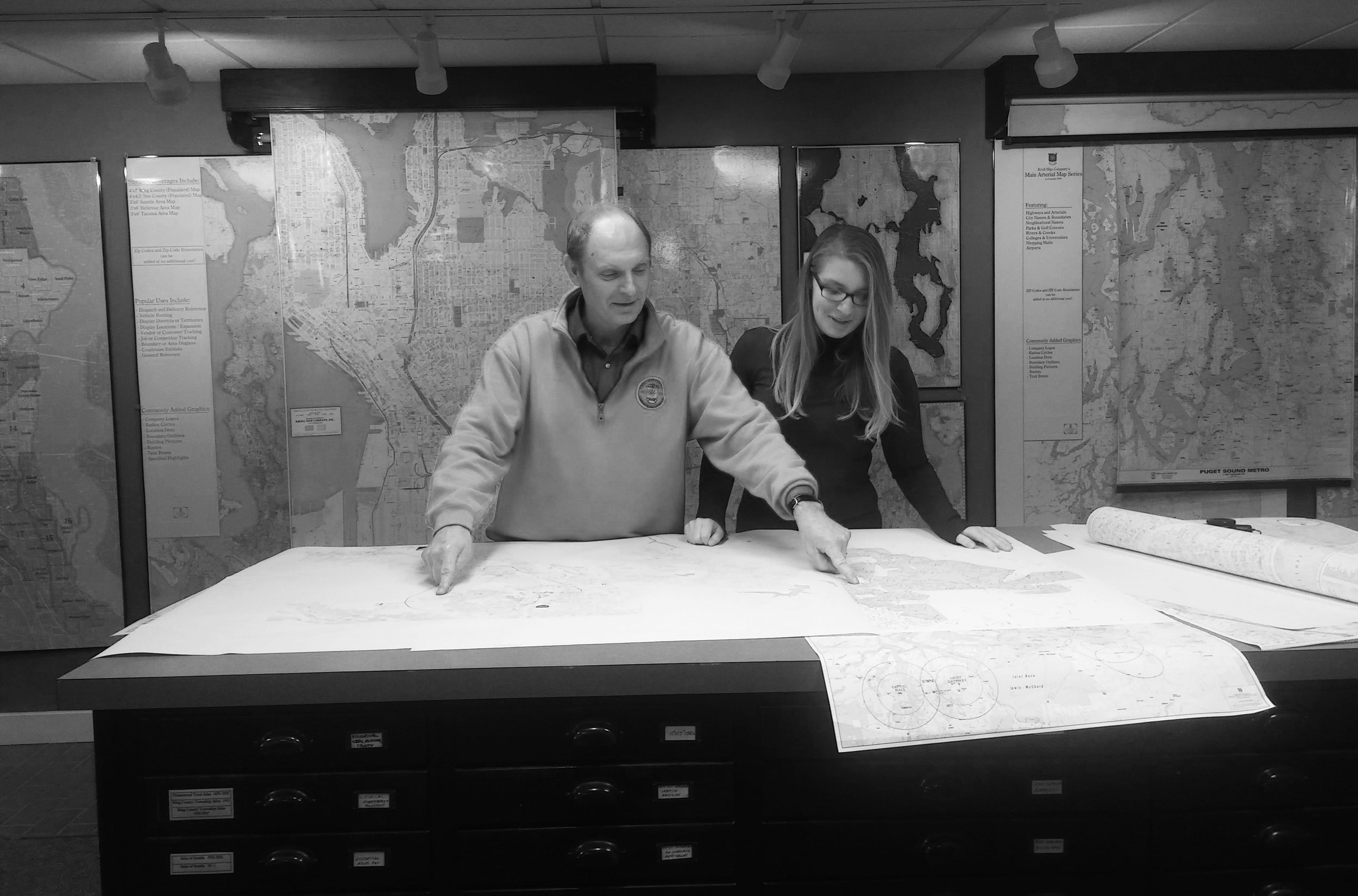 The flat files in the back of the store with every map imaginable.
