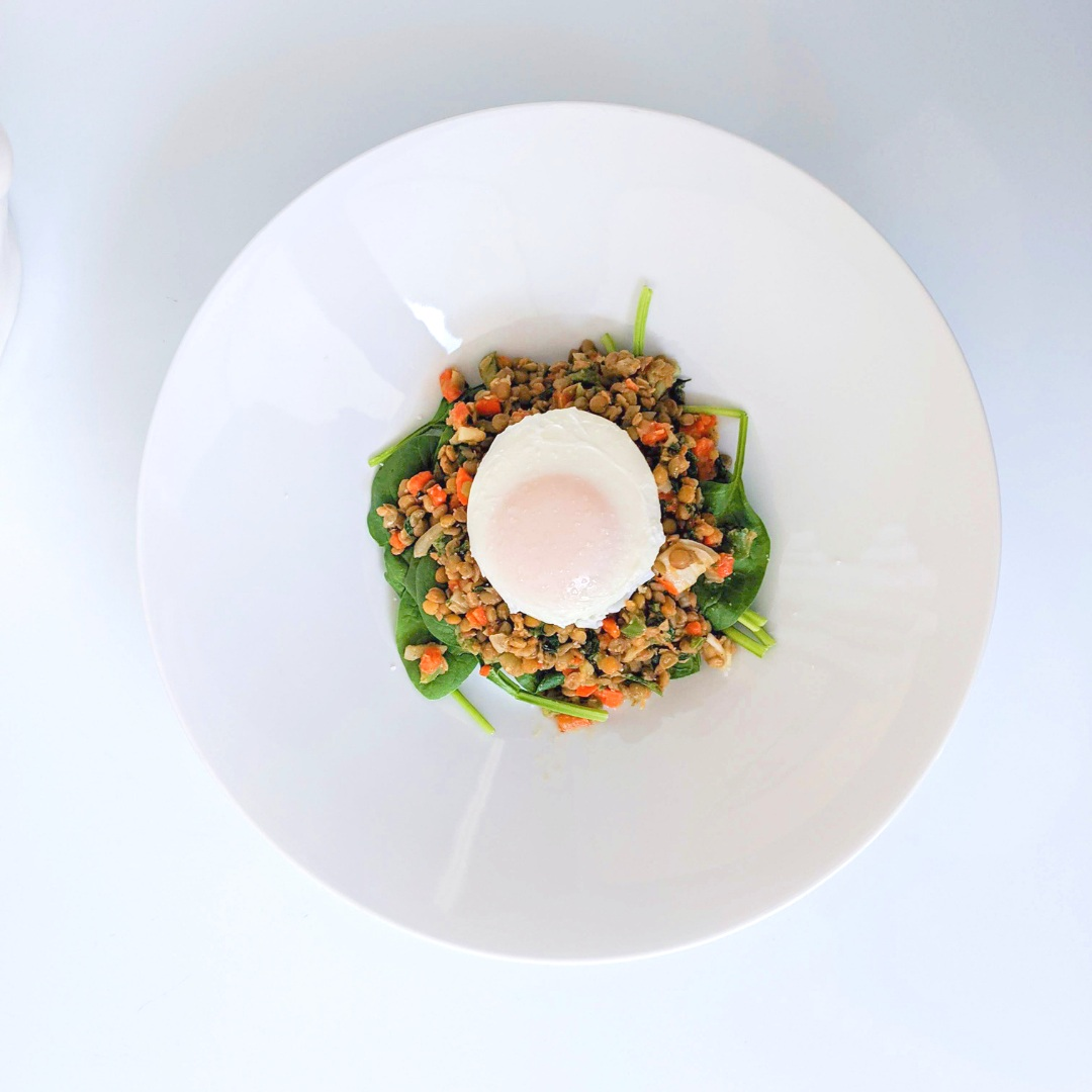 My dinner: A French lentil salad with poached egg
