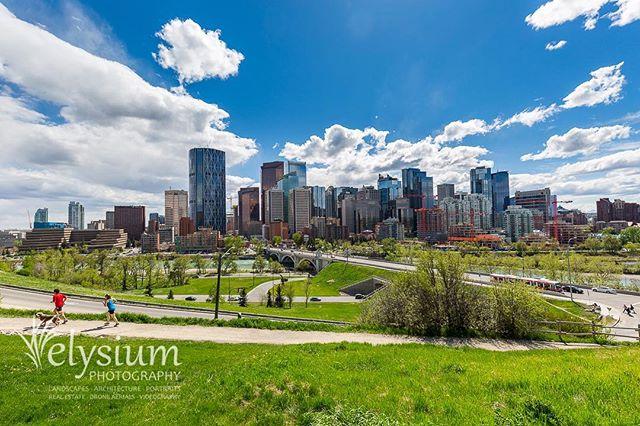 Daytime skyline, Calgary, Alberta.  #city #cityscape #urbanphotography #calgary #calgarylife #alberta #albertacanada #canada #skyline #ohcanada