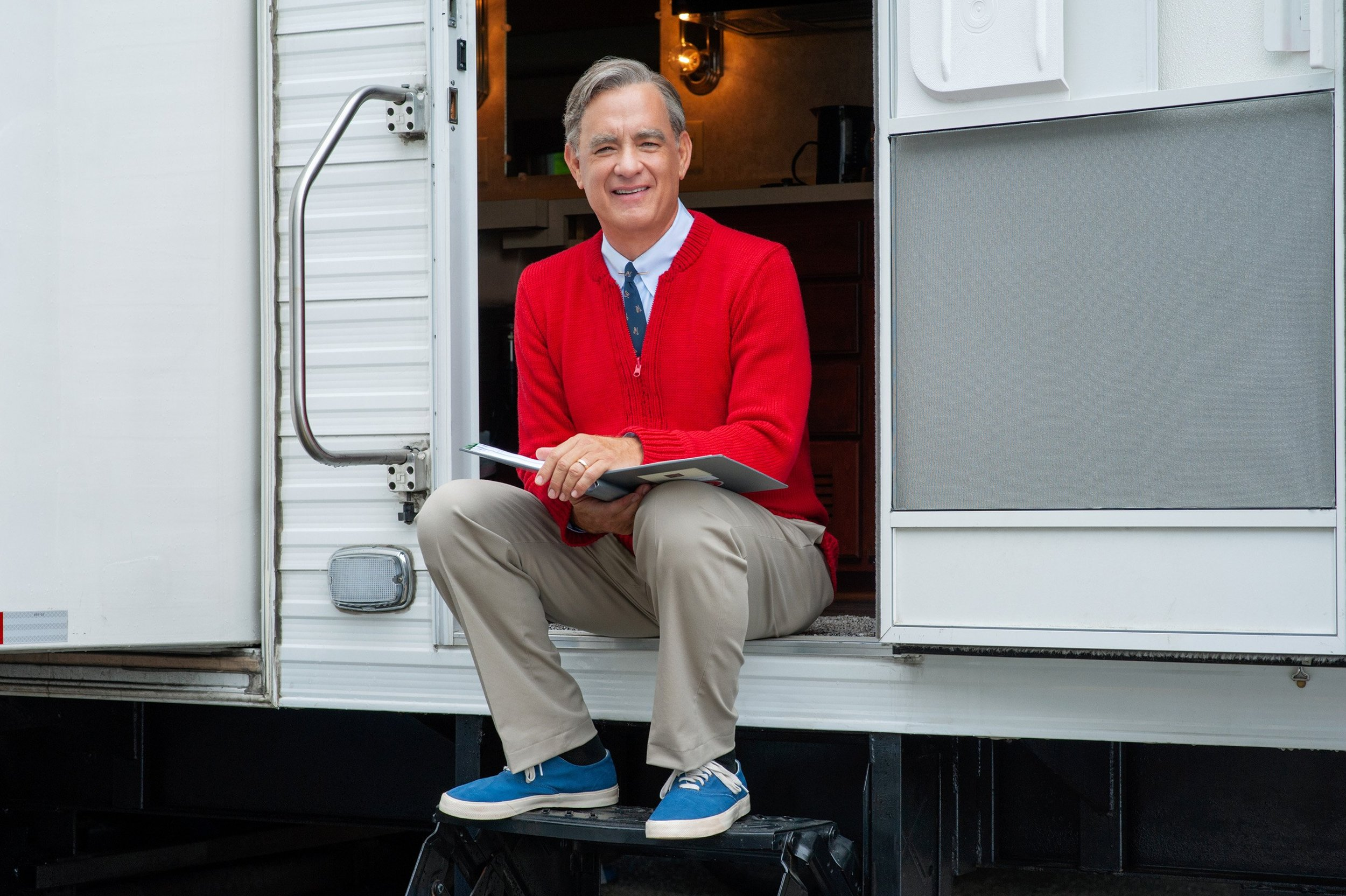 "Tom Hanks as Mister Rogers. (Image via  ""A Beautiful Day in the Neighborhood"" )"