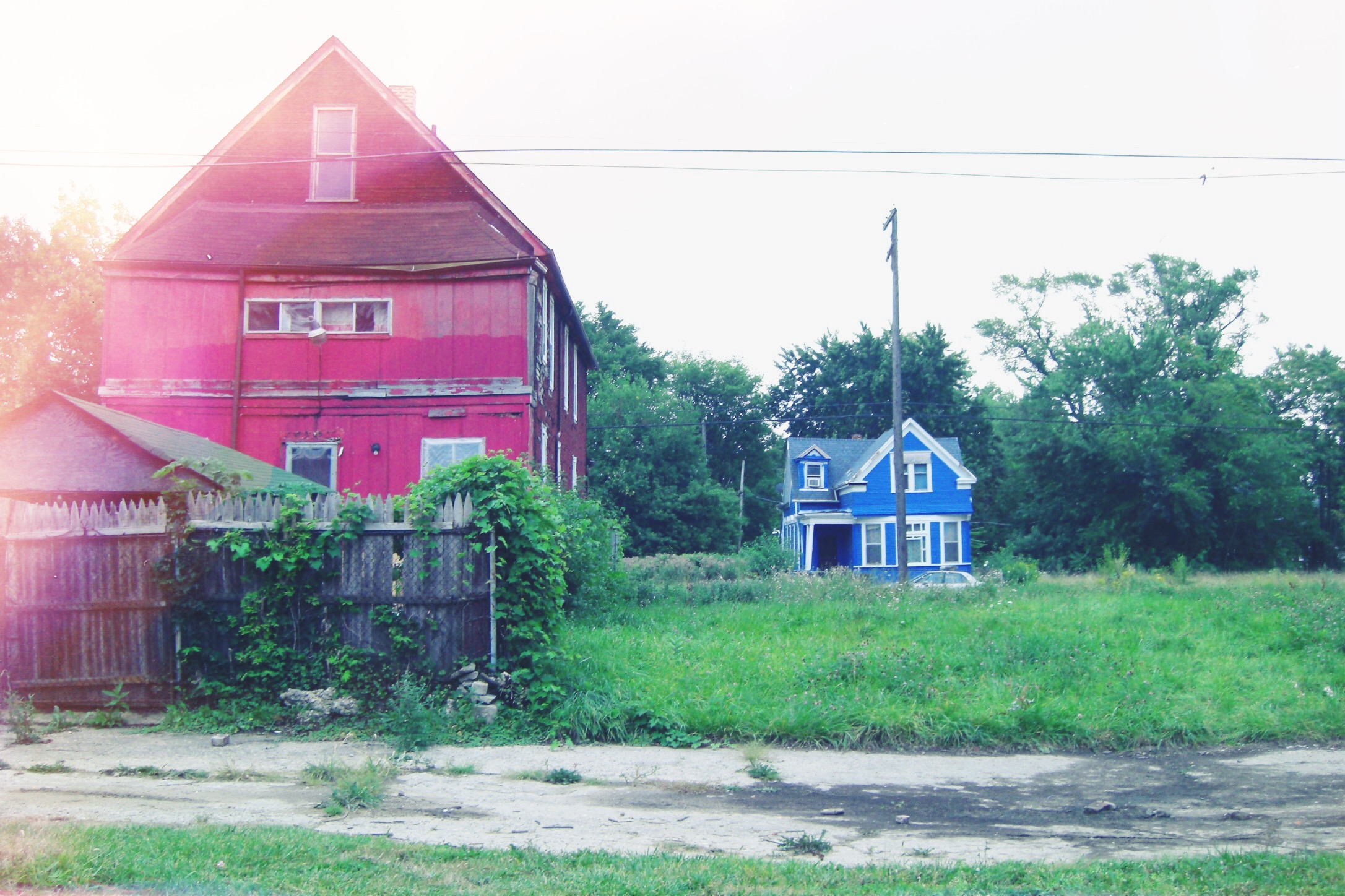 Two of a few remaining houses occupying an East Detroit residential block.