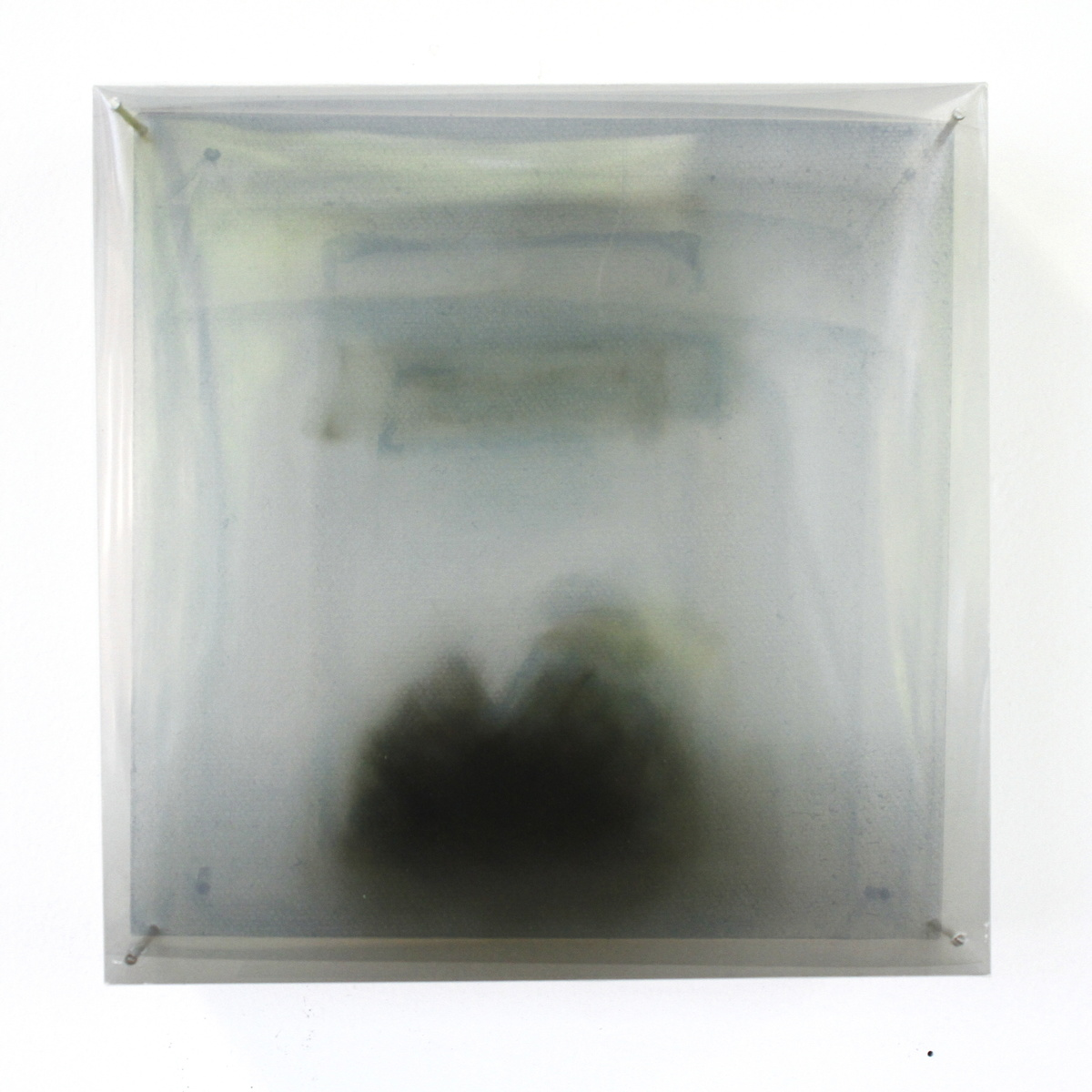 """ink on transparency, nails, oil on board 6"""" x 6"""" 2015  © Meaghan Barry"""