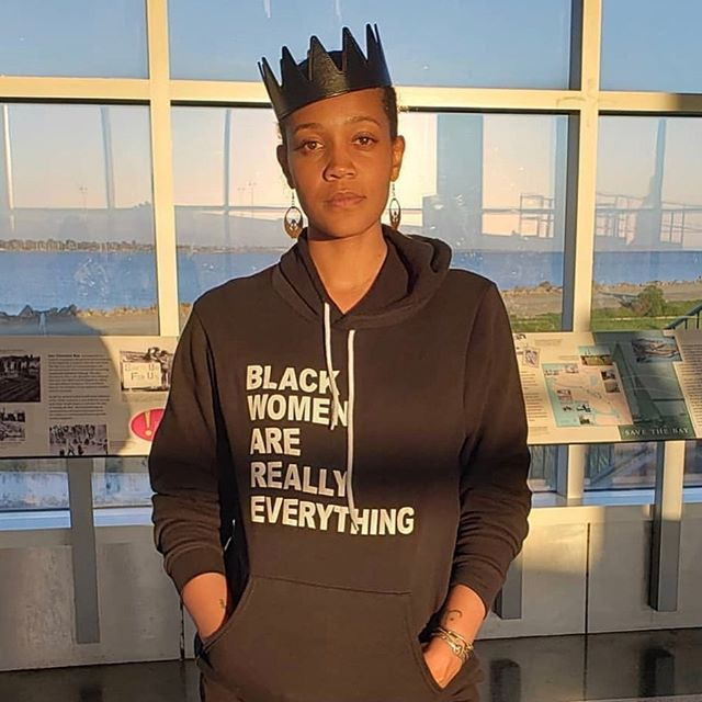 Writer, activist, and overall world influencer @chinakahodge rocking her Crown and standing in her glory at the airport with this amazing sweatshirt.  I feel blessed to meet and get to know some of the dopest people in the world.  #legends Dm me to order your crown!