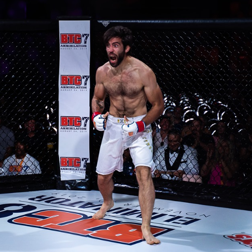 Colton Boxell celebrates following his submission win over Jeremiah Curtright at BTC 7: Annihilation in Ottawa. It's his first pro MMA win. [Credit:  BTC ]