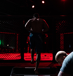 Kyran enters the cage at BTC 7: Annihilation.(Credit: Patrick Duffy)