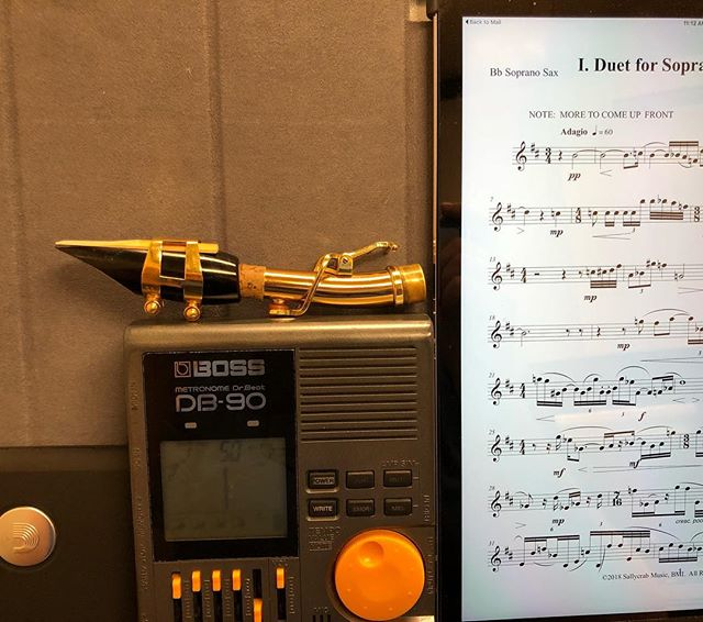 On the stand this morning...Bruce Frazier's new Duet for Soprano Sax and Vibraphone.  Check out the premiere of this wonderful duet tomorrow @western_carolina.  What's on your stand?  #justgotittoday #stressingmeout #catamountalumni #ipadpro #dadarriowoodwinds #sopranosax #viberaphone #newmusic #smartpractice