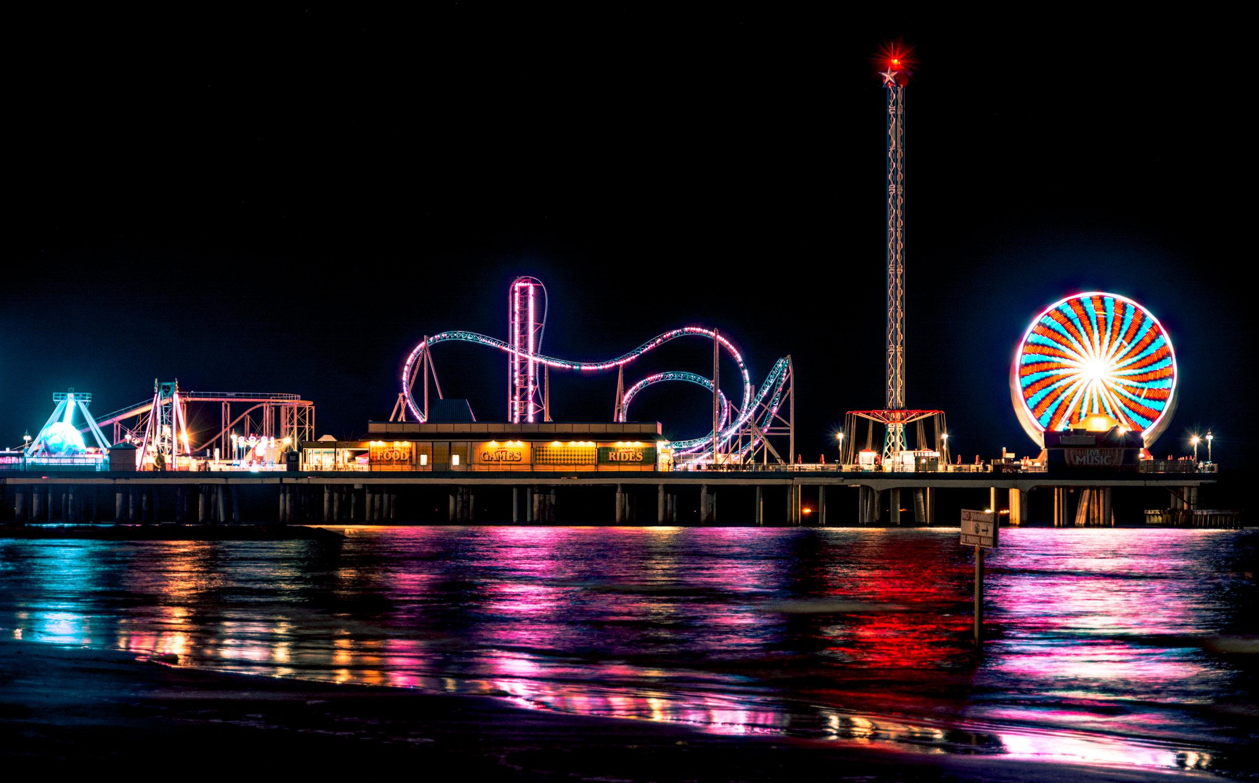Photo Title: Pleasure Pier at Night