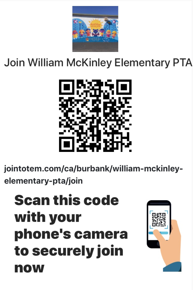 Use this QRC to securely join the McKinley PTA.  - Scan the code with your phone's camera and follow the instructions that come up.