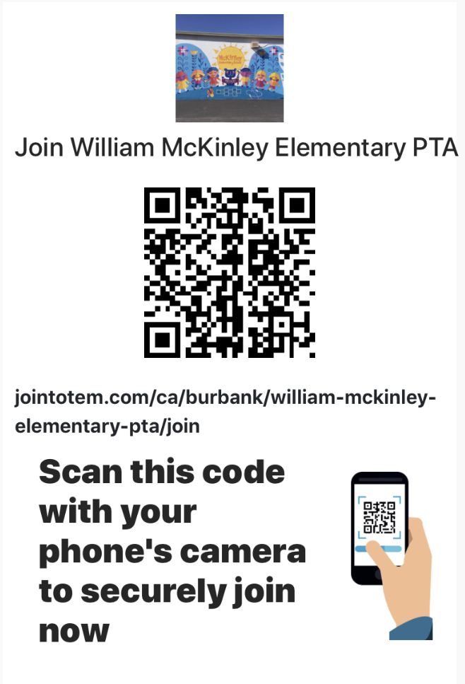 Scan this QRC code using your phone's camera to securely join the McKinley PTA. -