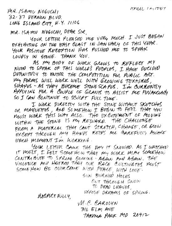 M.C.CAROLYN letter 04-12-84