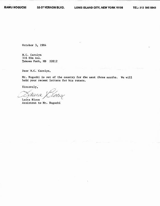 Isamu Nogichi response 10-03-84