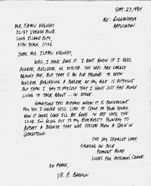 M.C.CAROLYN letter 09-27-84