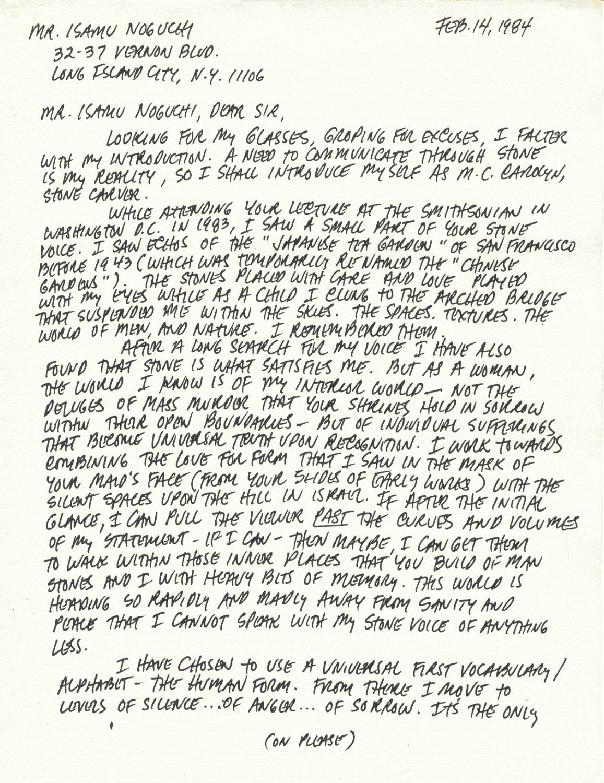M.C.CAROLYN letter 2-14-84