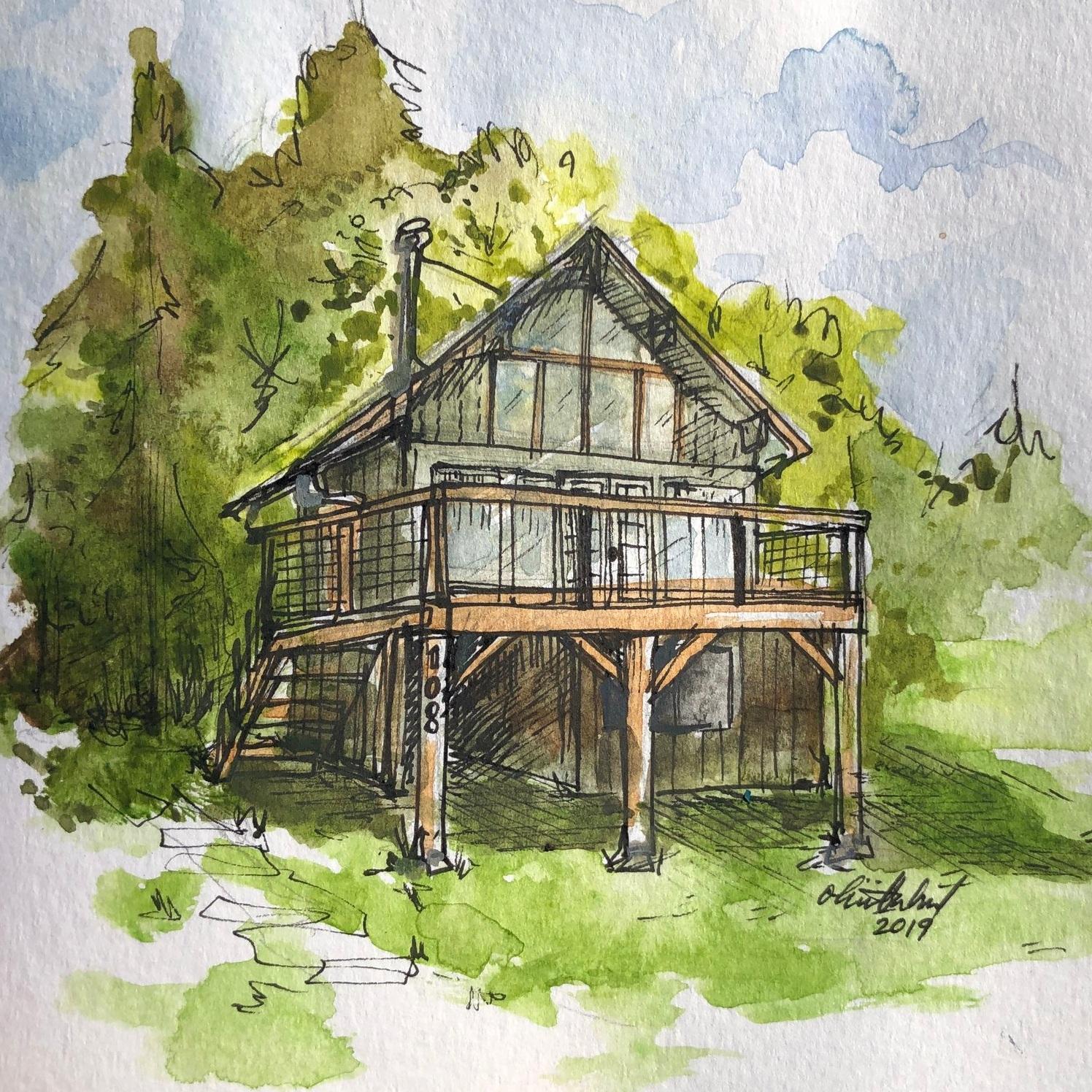 Orcas Island Cabin 2019  Watercolor and Micron pen