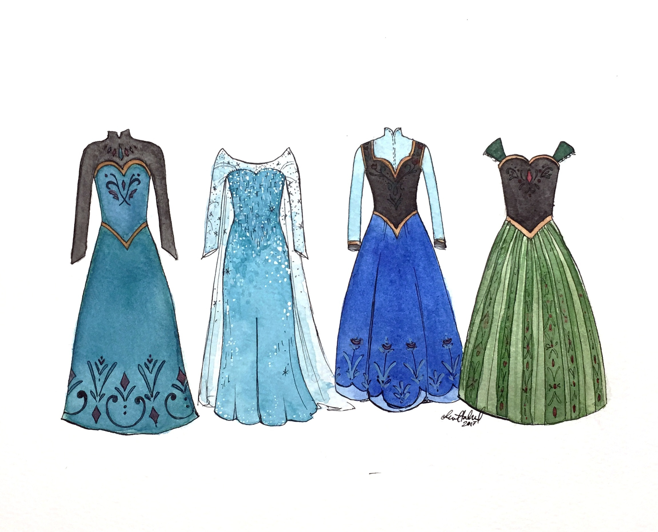Frozen dresses 2017 Watercolor and India ink