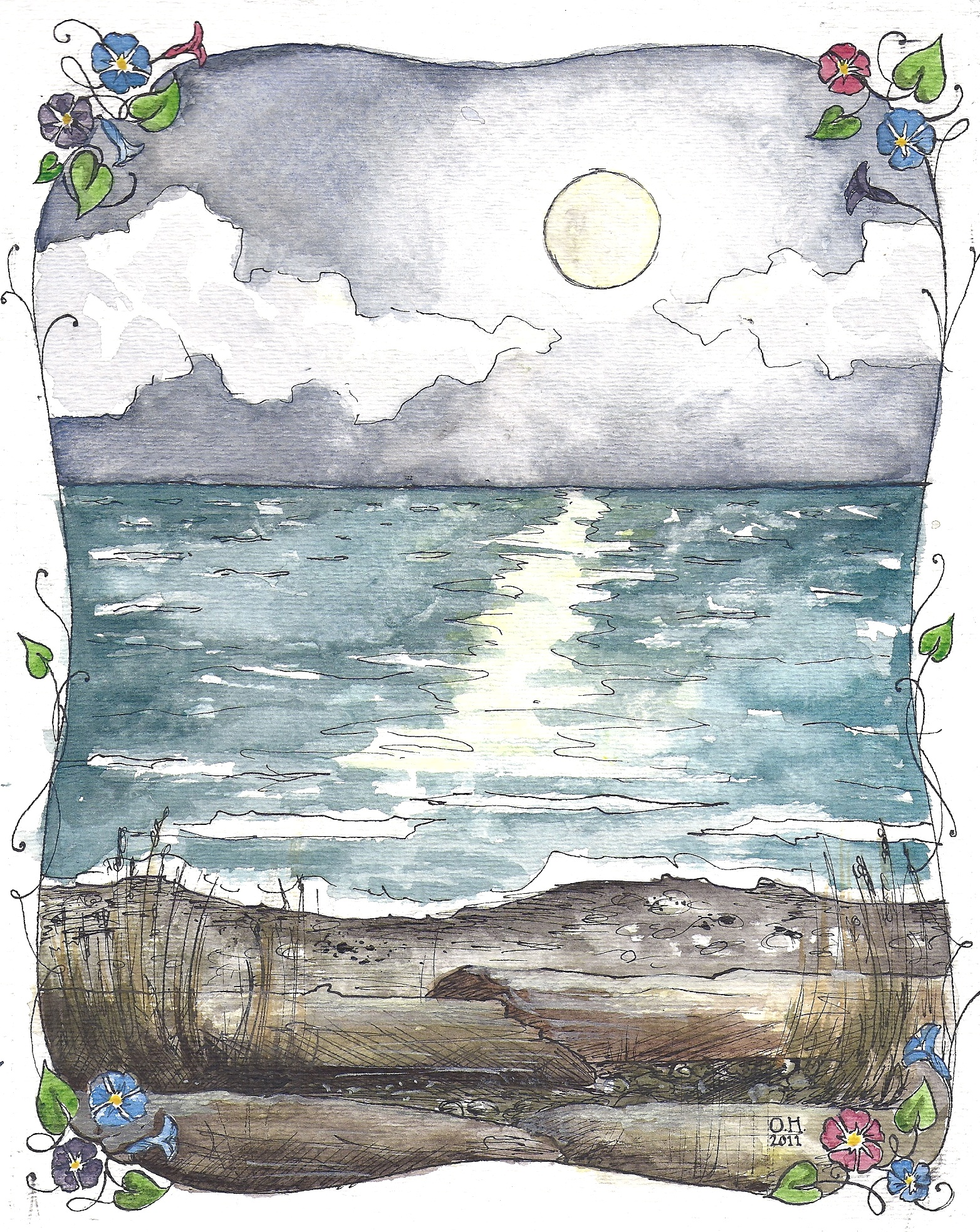 Moonlit beach 2011 Watercolor and India ink