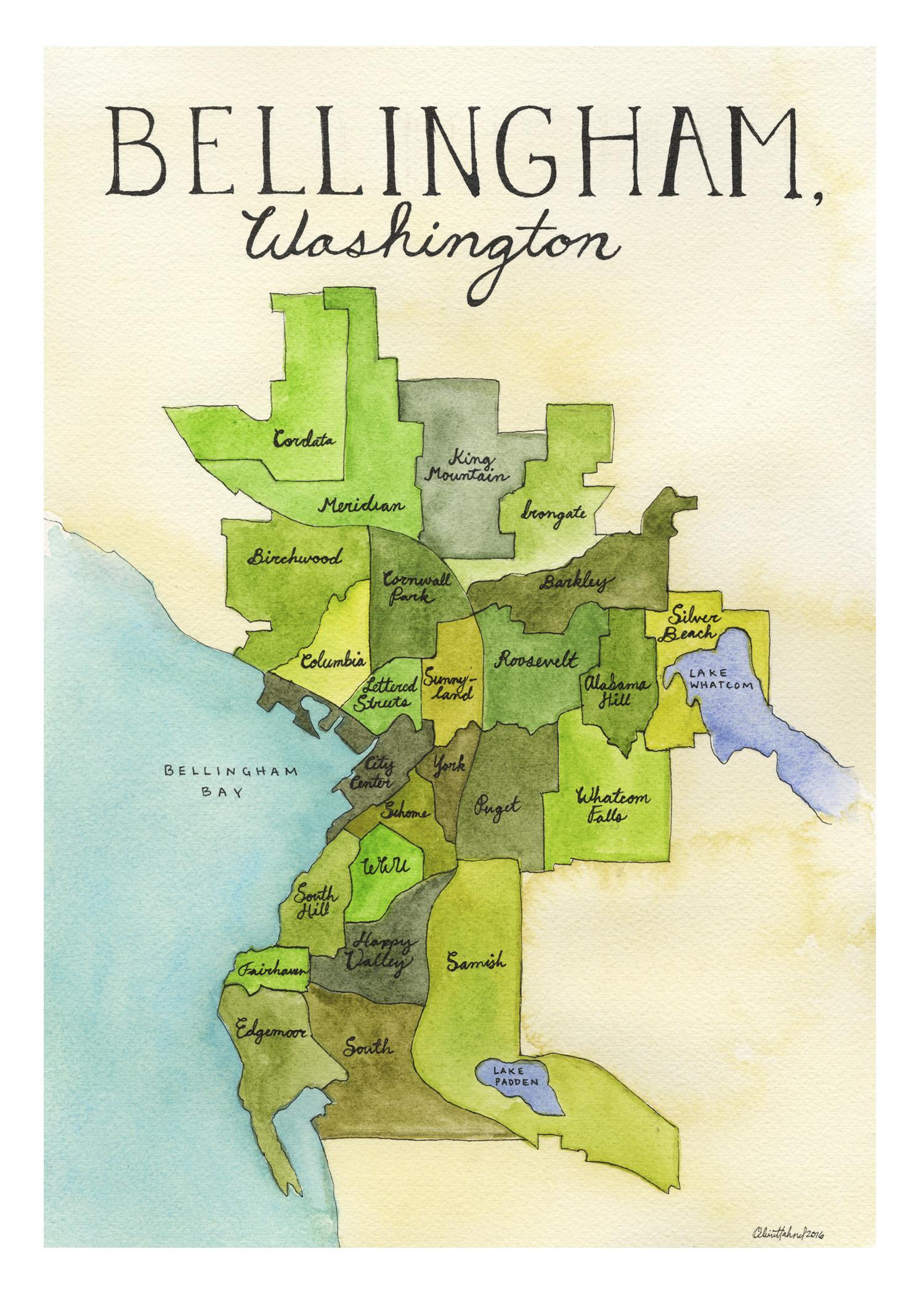 Bellingham Neighborhood Map 2016 Watercolor and India ink