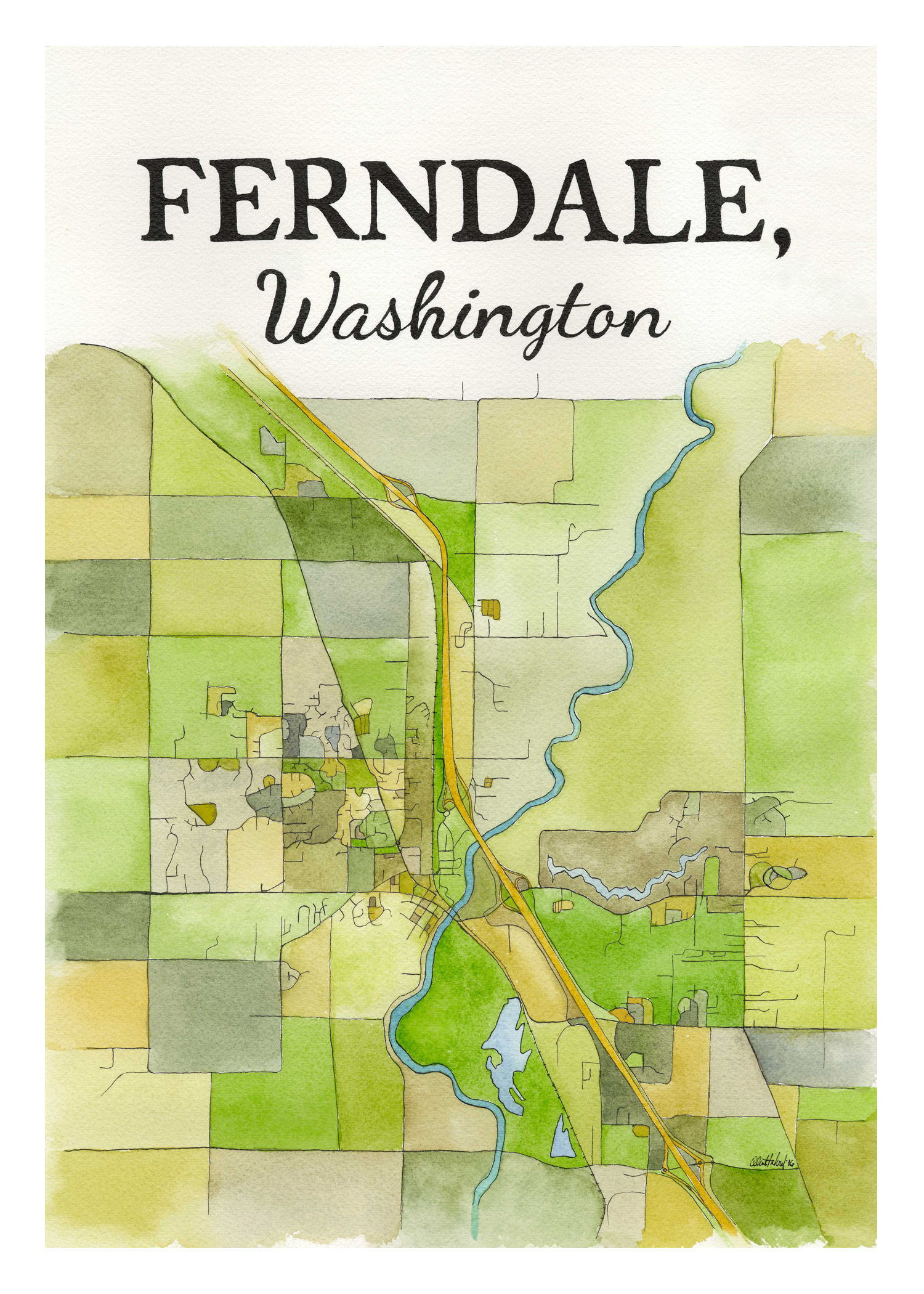 Ferndale Map 2016 Watercolor and India ink