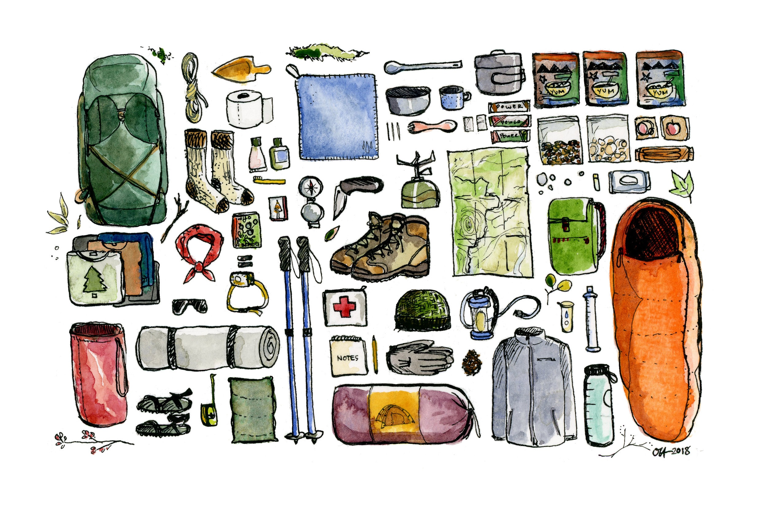 Backpacking Essentials 2018 Watercolor and India ink