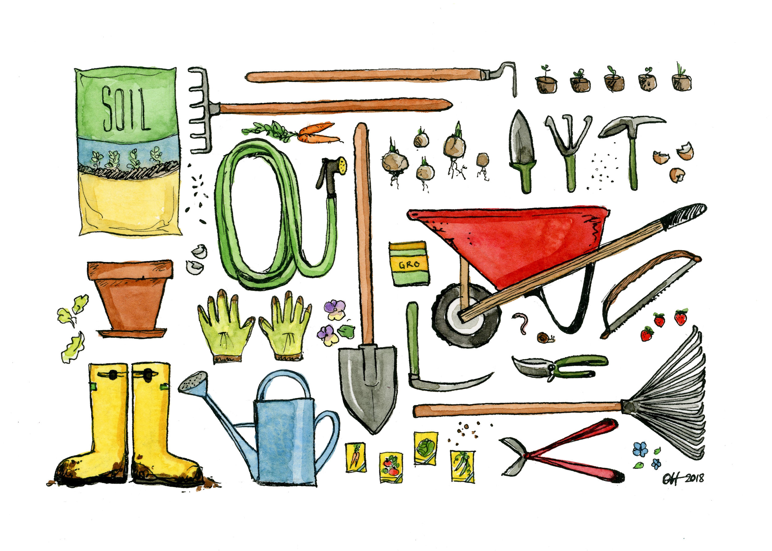 Gardening Essentials 2018 Watercolor and India ink