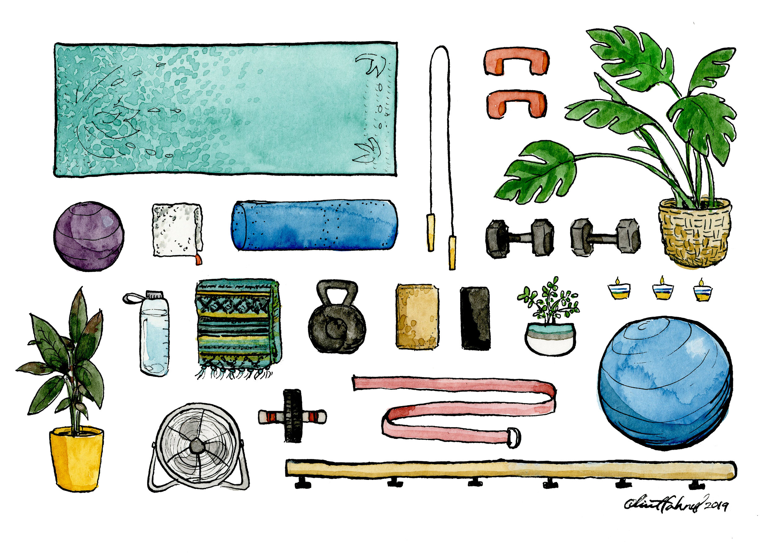 Fitness Essentials 2019 Watercolor and India ink