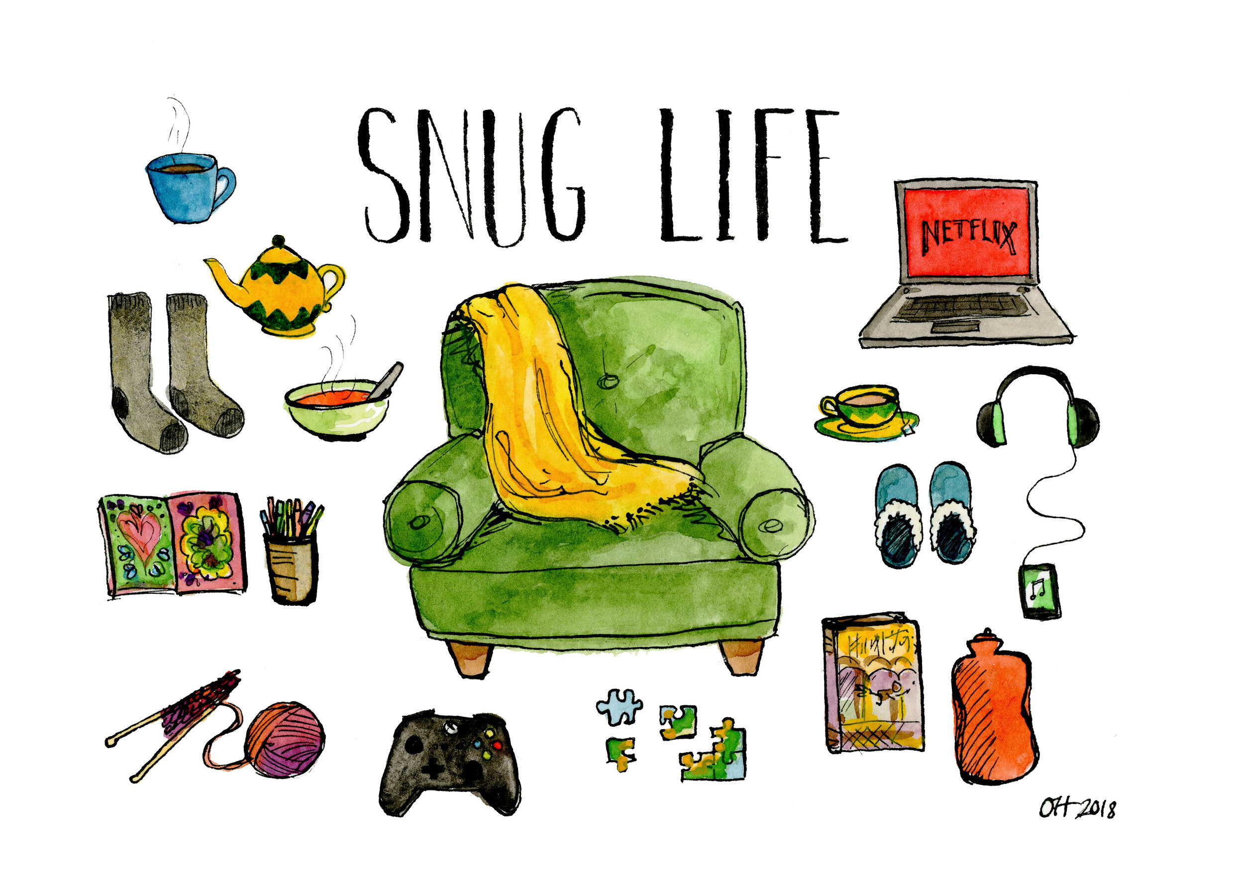 Snug Life 2018 Watercolor and India ink