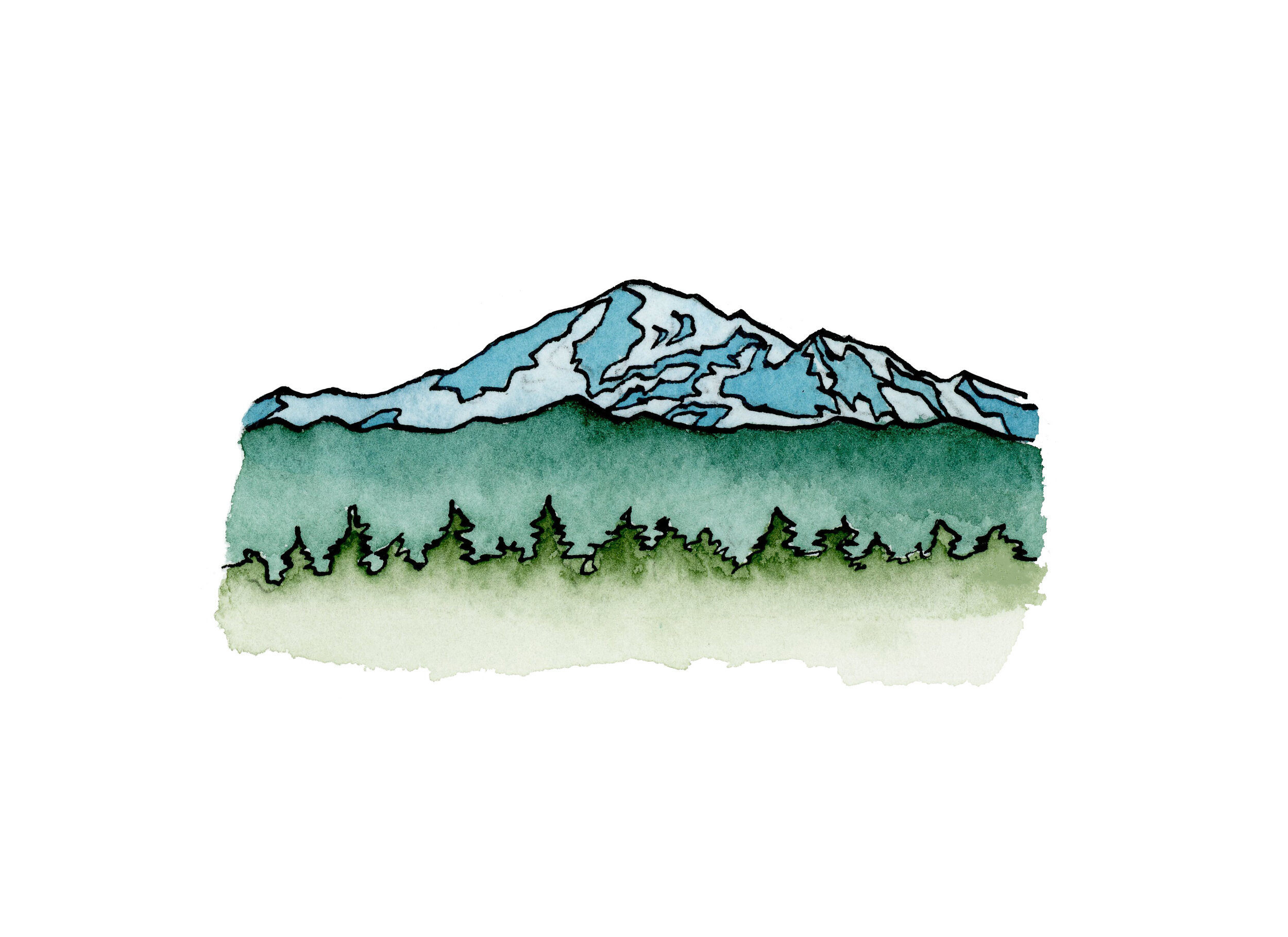 Mt. Baker 2019 Watercolor and India Ink
