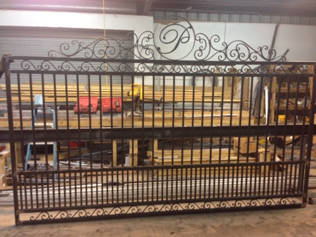 custom steel entry gate with design
