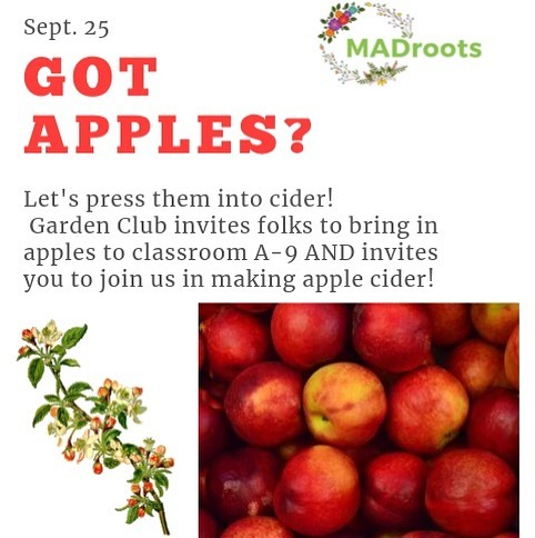 🍎 Garden Club is rounding up apples for some fun activities we have planned! Let us know places we can freely pick from or bring us bulk apples you may have! Then, come by after school to the Sustainable Agriculture class where we will be making apple cider with the apples! If we get enough apples, we can make apple pie filling as well! We can't wait to hang with ya gardener folks!