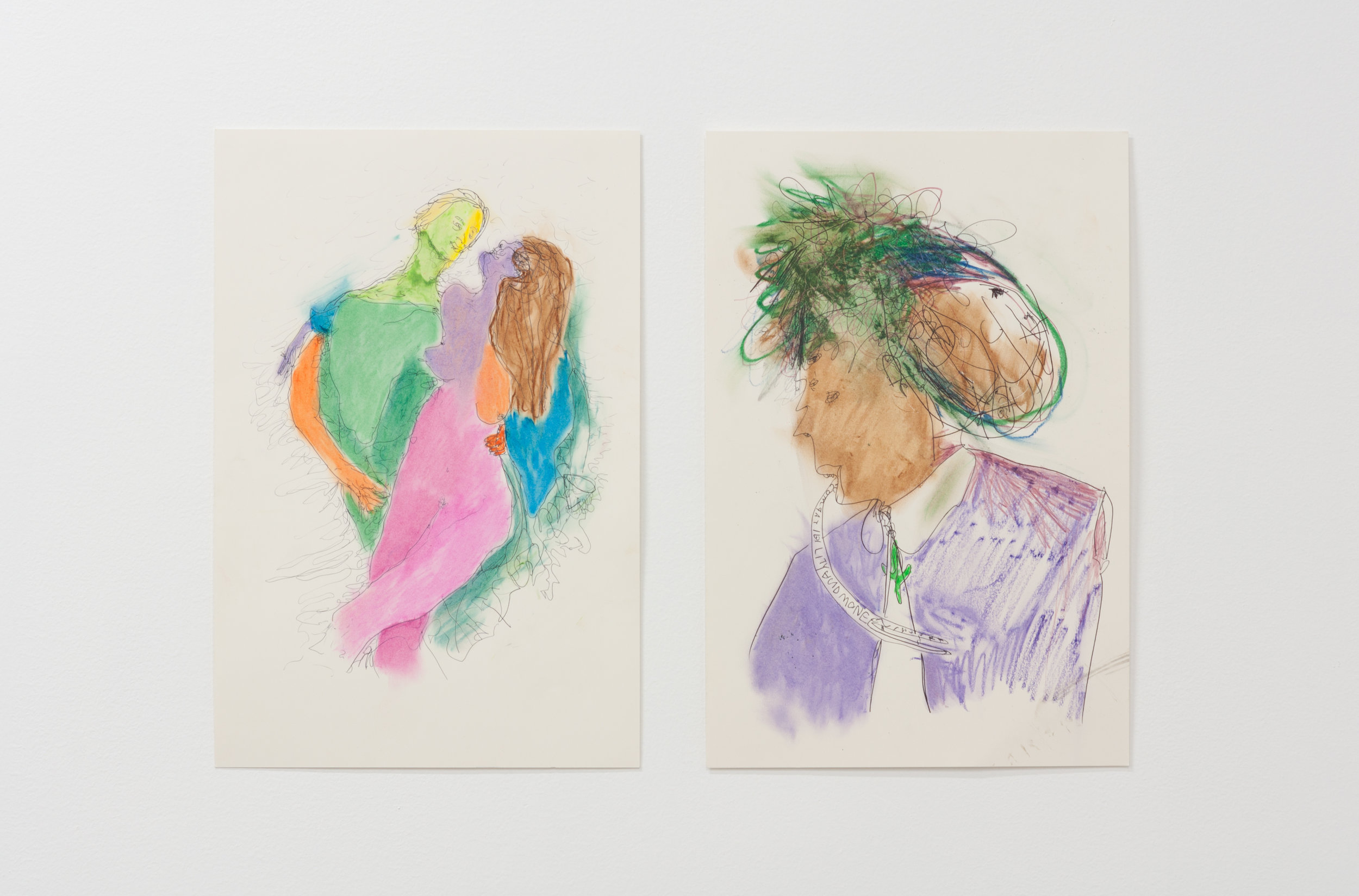 Jeff Lownsbury  Untitled (Two Figures) , 2016, oil pastel and pen  Compatibility and Money , 2016, oil pastel and pen
