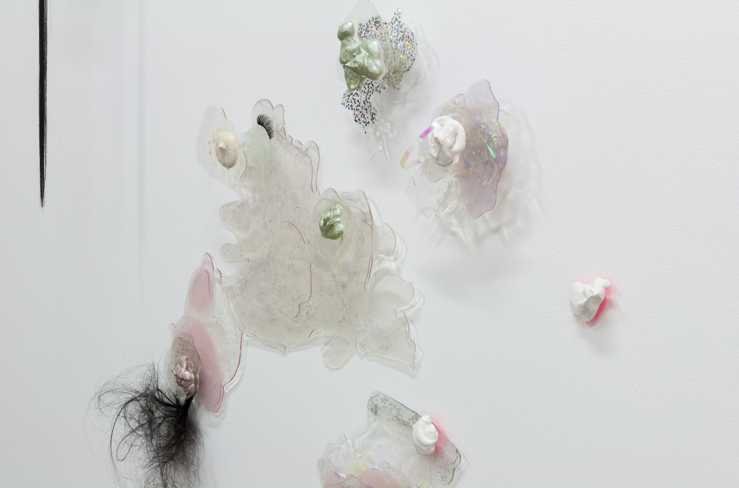 Galen Trezise,  Ectoplasmic Other,  2016, wood, resin, synthetic hair, eyelash extensions, plexiglass, plaster, acrylic paint, dichroic film, glitter (detail)