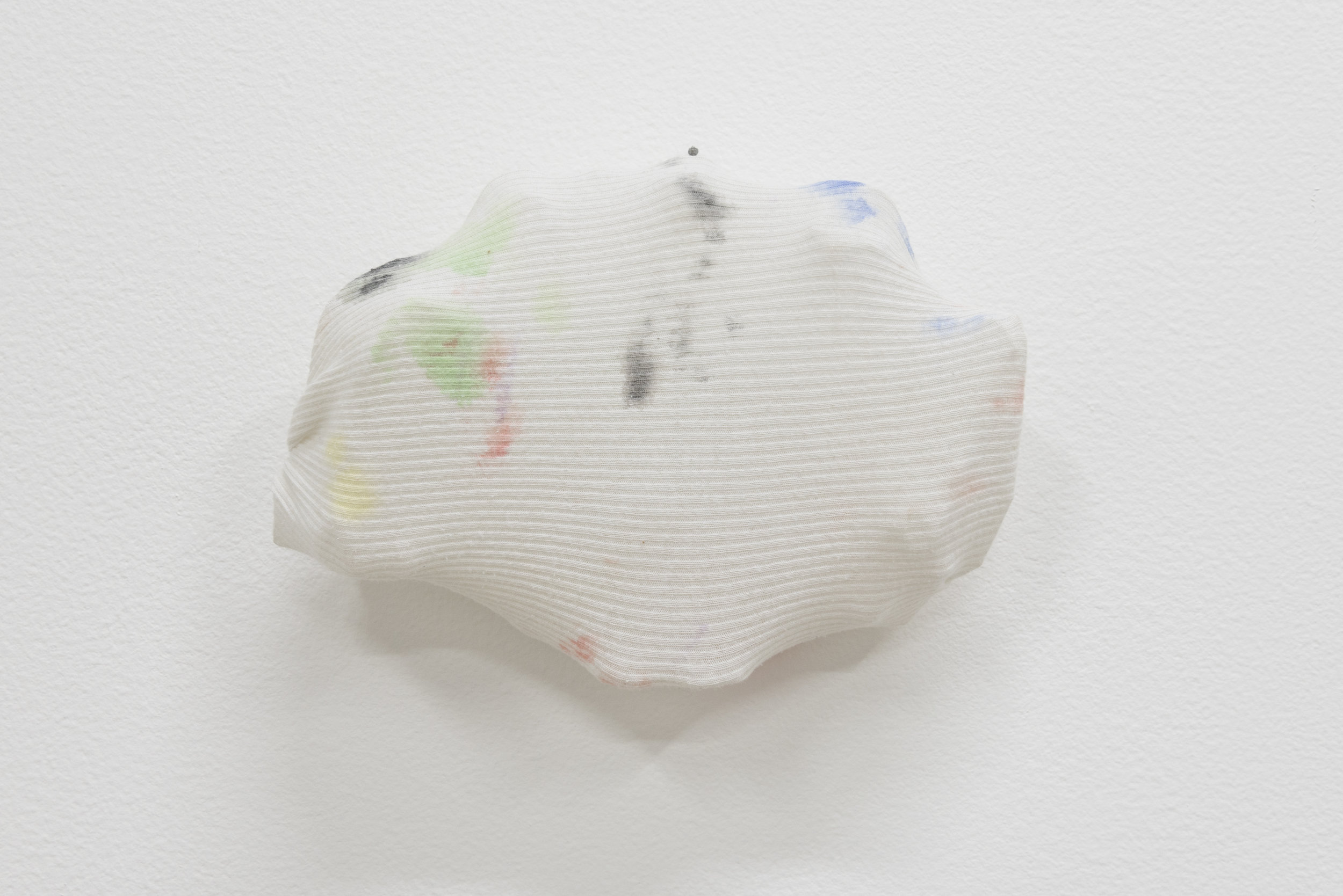 Sara Hubbs,  Closed Mouth, 2 017, Men's undershirt, ink, plastic toy container