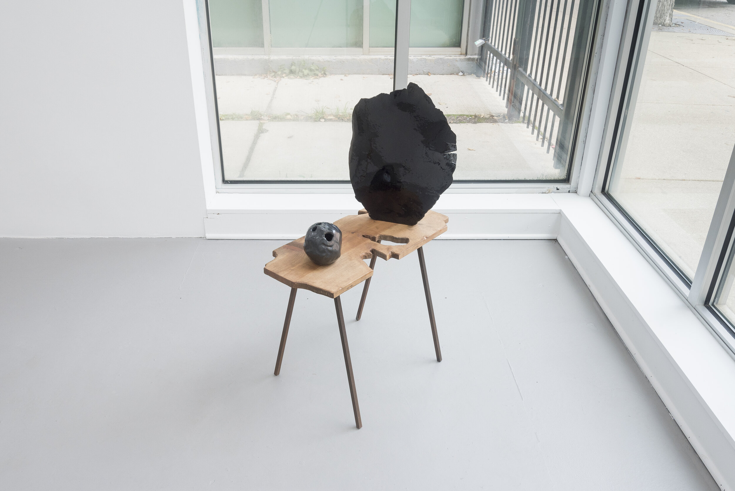 Soo Shin  Gesture: Reflection and Weight,  2019 resin, glaze on stoneware, wood, steel