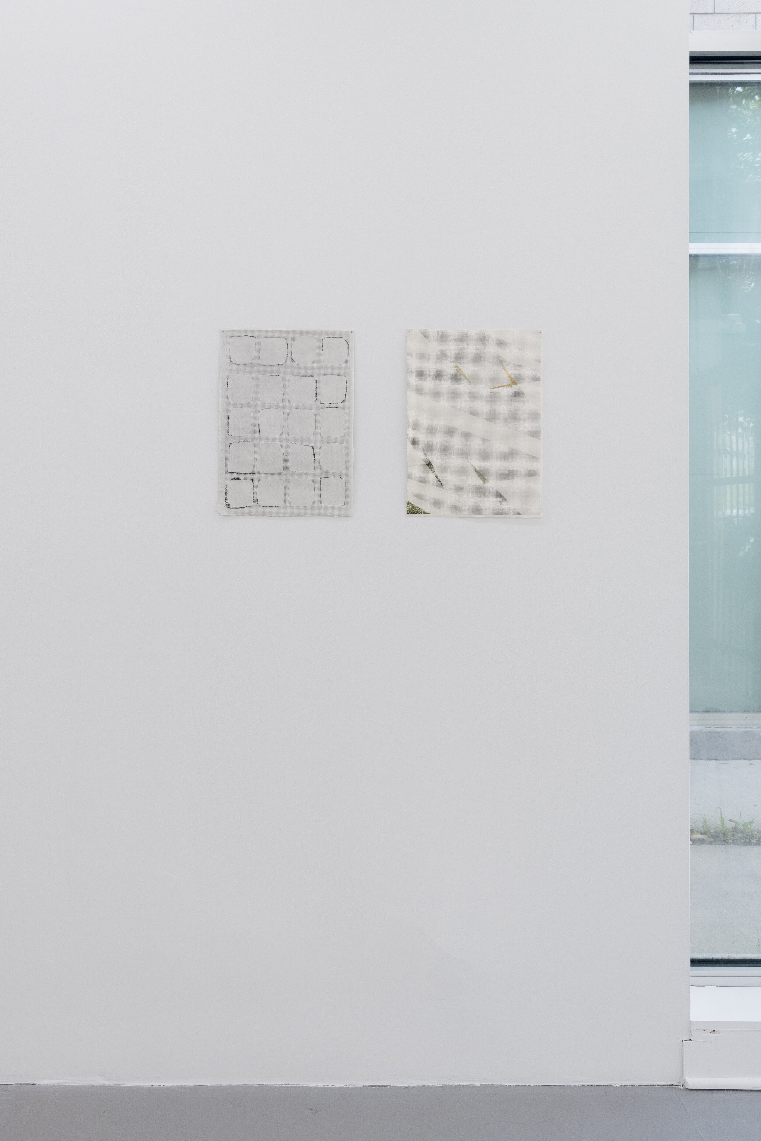 Left: Azadeh Gholizadeh,  Labyrinth , 2017 embroidery on archival inkjet print on rice paper  Right: Azadeh Gholizadeh,  Knot , 2017 embroidery on archival inkjet print on rice paper