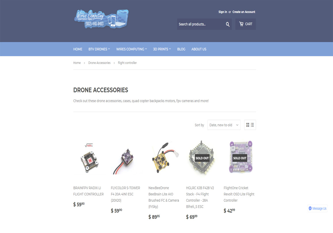 Our store page for drone parts, computer repairs, phones for sale and more electronics all available 24/7 online at  store.wirescomputing.com