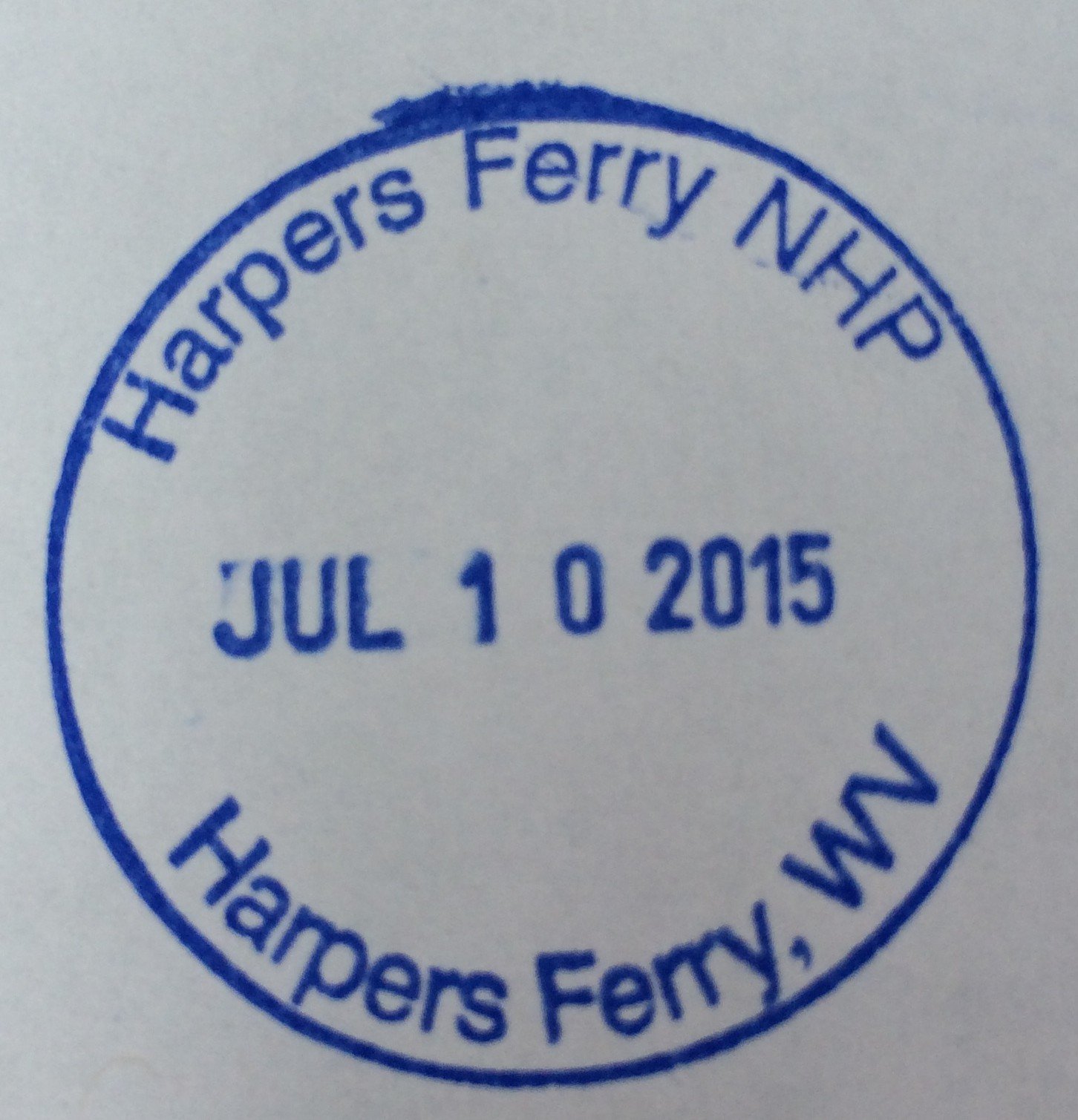 The official stamp obtained at the Harper's Ferry visitor's center where we parked our car for three days