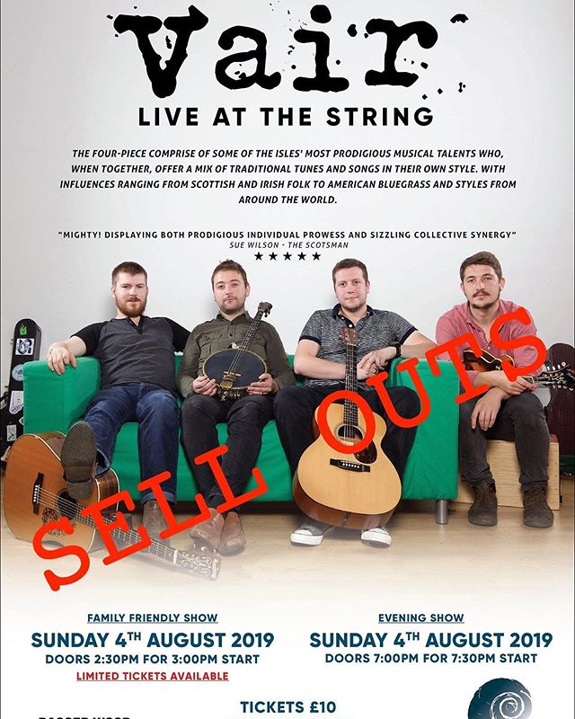 We're delighted that both Vair concerts on Sunday afternoon/evening are sold out. To celebrate, we are changing our food hours for the day and will be serving a single menu between 12-2.30 and then from 4.30-8.  Dishes will include some of our regular favourites and a couple of new desserts along with: - Toad in the hole with Shetland beef sausages - Turriefield chickweed & beetroot pesto risotto w/ goat's cheese - Seafood linguine - Cilbar (Turkish eggs)  If you'd like to book a table drop us an email to hello@thestringshetland.co.uk, PM us on here or call LK 694921 during opening hours.
