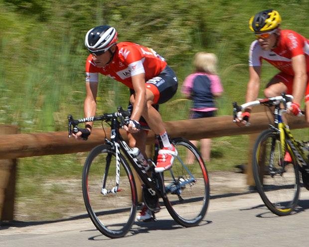 Elmiger sur le Tour, avec son maillot de Champion suisse.