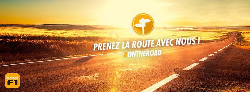 Visuel de campagne de hotelF1, illustrant sa communication autour du thème de la route.