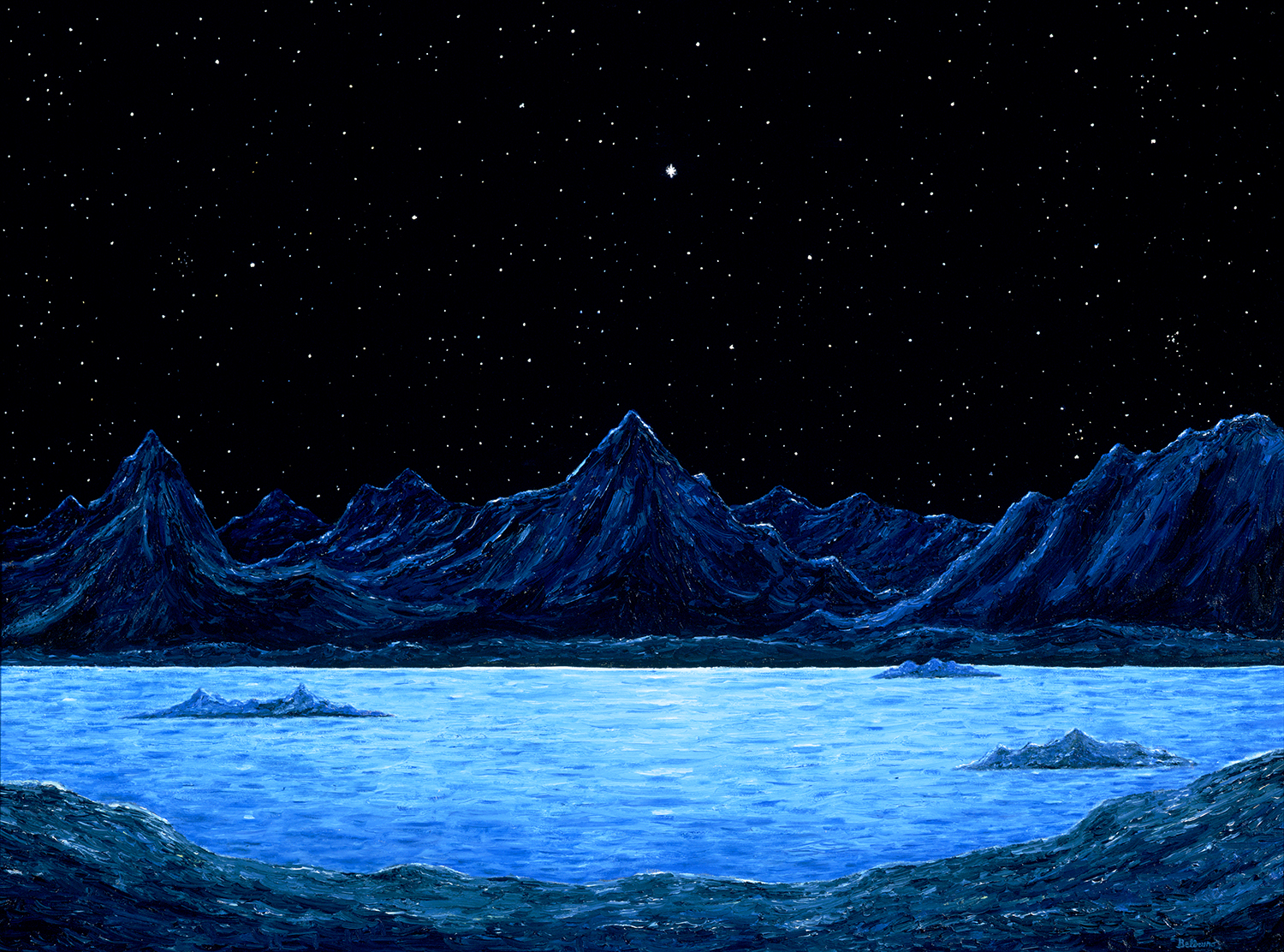 Starscape Over Mountains on Another World