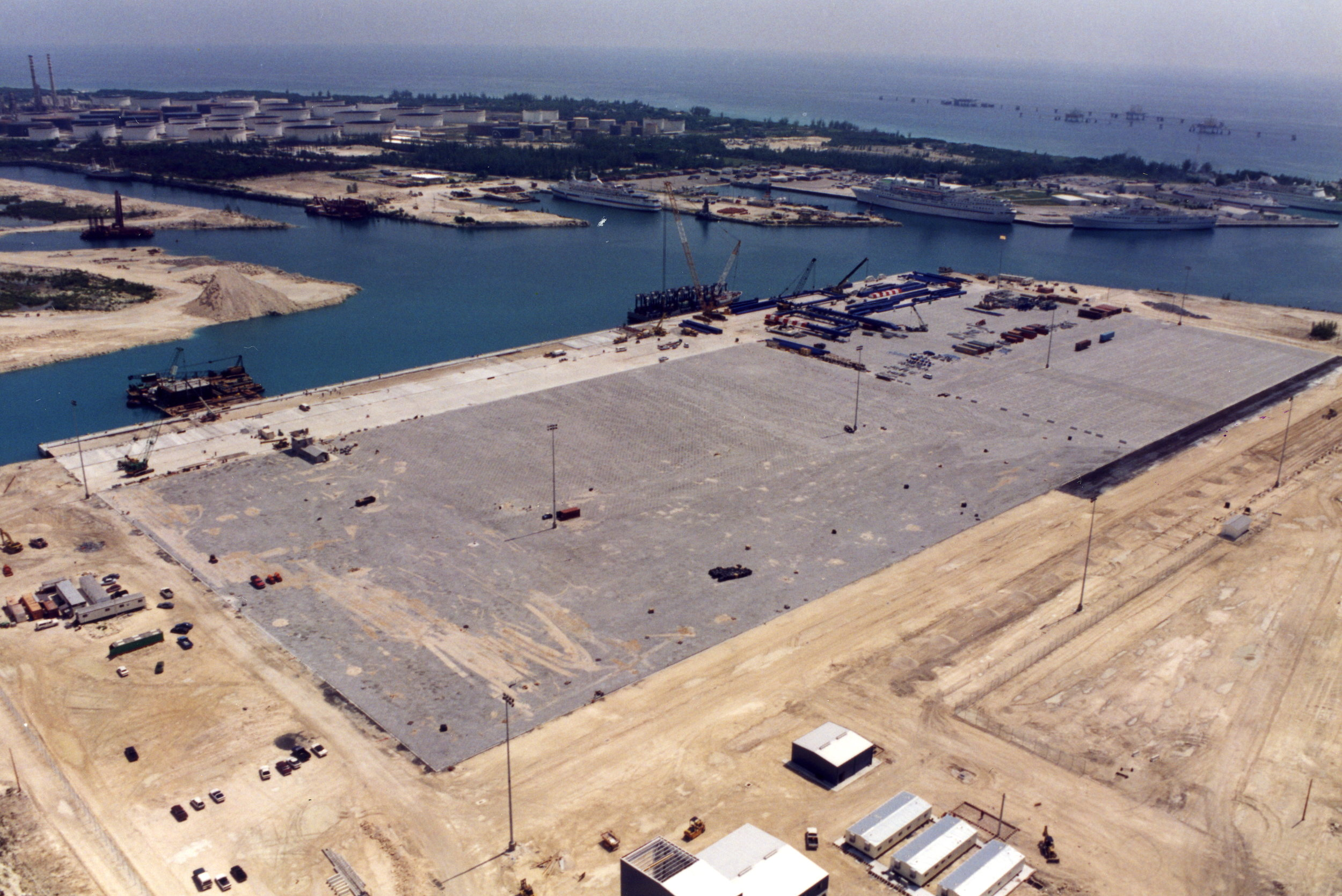 Early stages of the construction of Freeport Container Port
