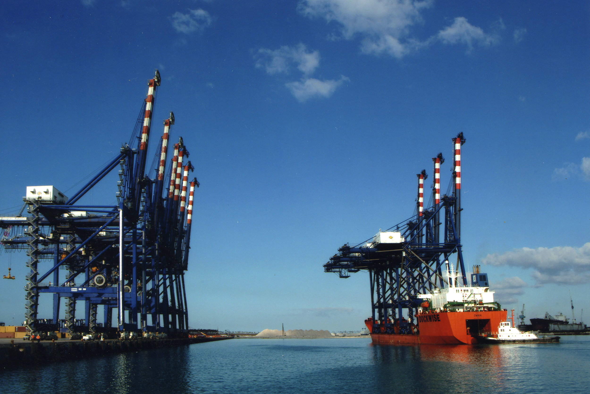 Arrival of cranes at Freeport Container Port in 1997