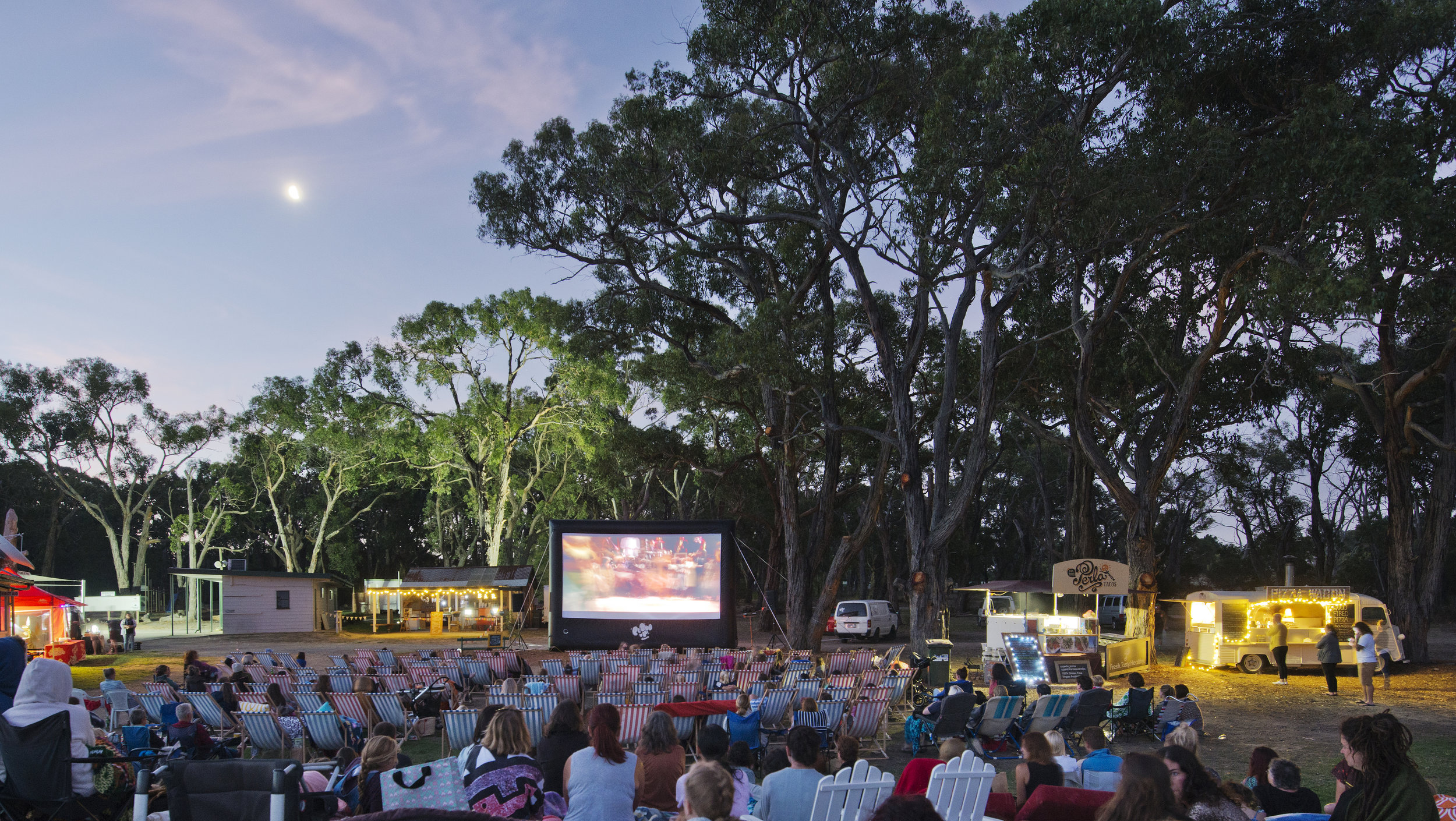 Stringybark Cinema - For the last six years we have been working with the very creative folks at Unscene Events to produce some unforgettable outdoor movie events. For a few years we were located at the beautiful Emu Plains Market and most recently in the stunning Frankston Botanical Gardens. Blow Up Cinema provided the full cinema package and programmed all the movies.